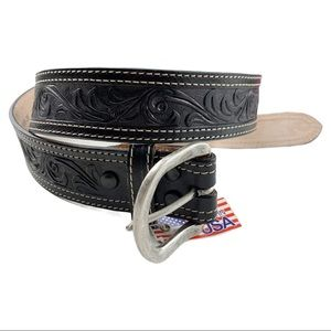 NWT Nocona Black Embossed Leather Belt